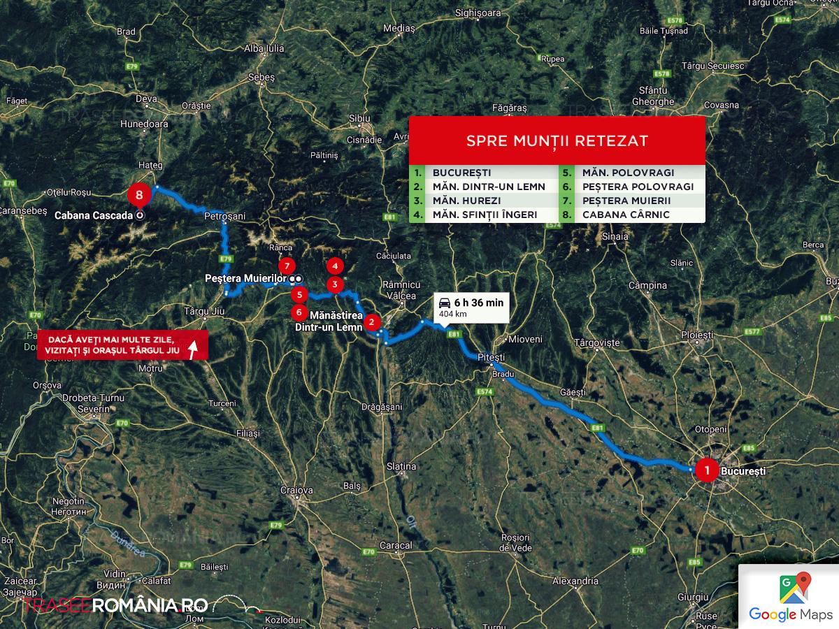 Traseu obiective turistice in Judetele Valcea si Gorj