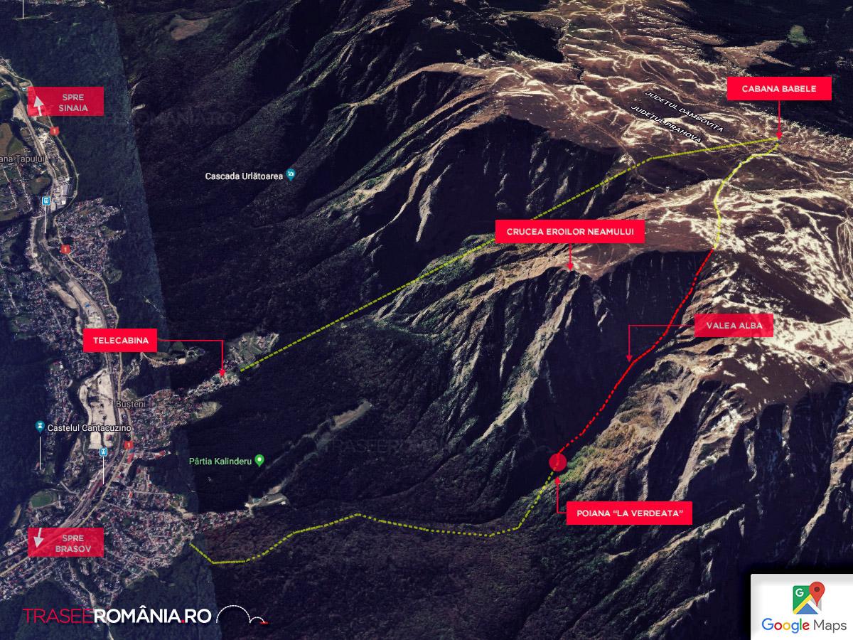 Valea Alba traseu Muntii Bucegi - harta traseu