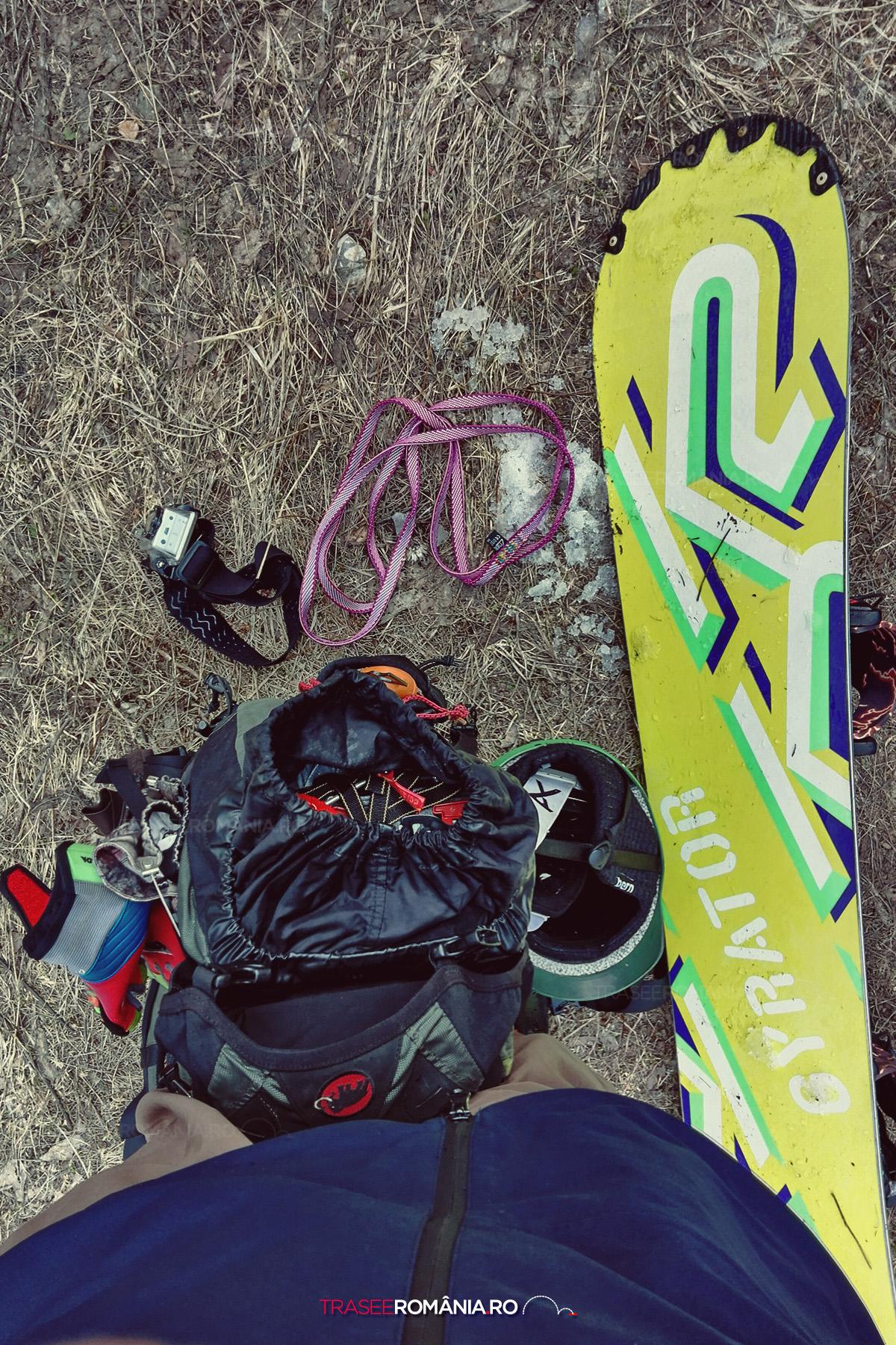 Echipament de snowborading off-piste