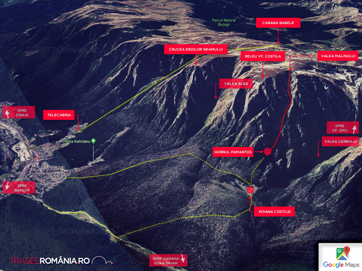 Valea Malinului traseu Muntii Bucegi - harta traseu
