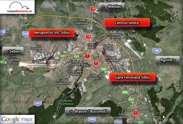 harta sibiu cum ajungem in sibiu transport in comun aeroport, gara spre centru vechi istoric
