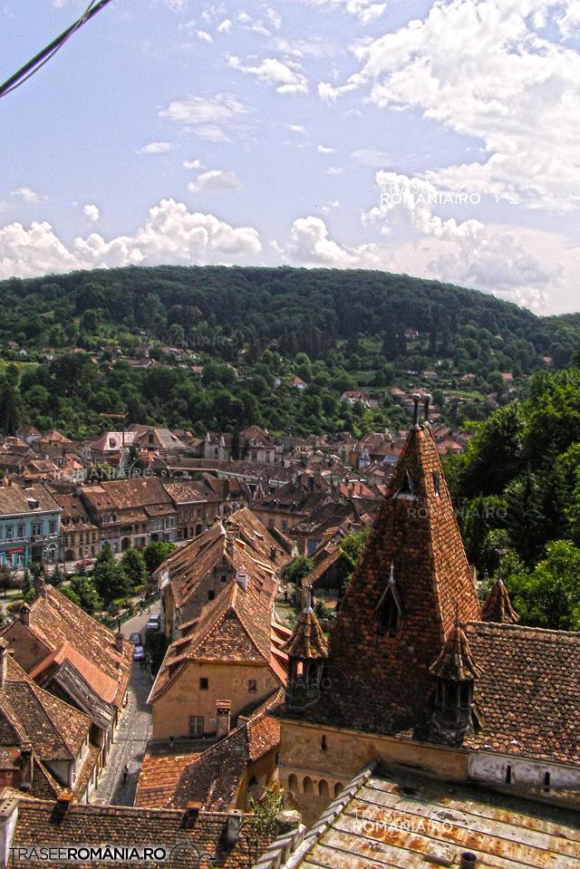Sighisoara - panorama din Turnul cu ceas spre Piata Hermann Oberth