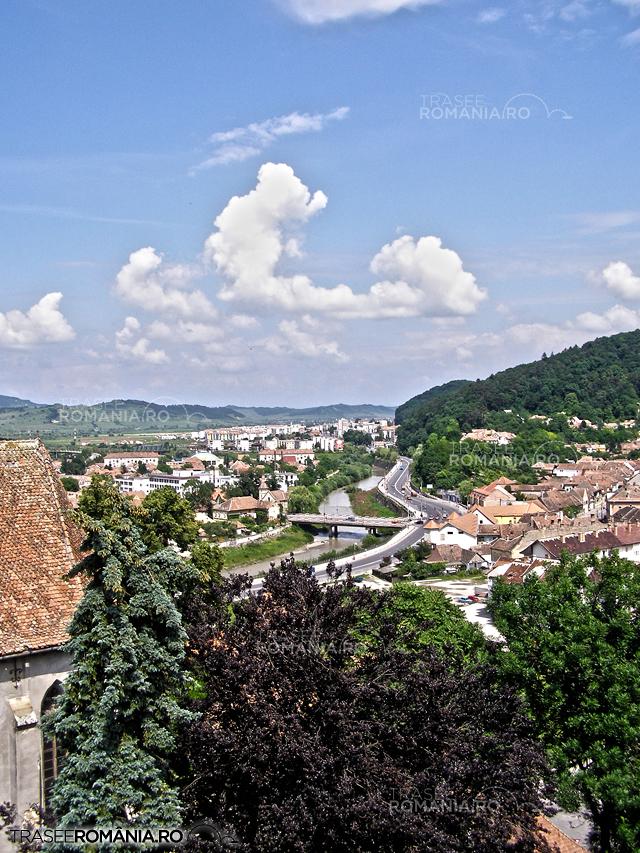 Sighisoara - panorama din Turnul cu ceas spre Raul Tarnava Mare