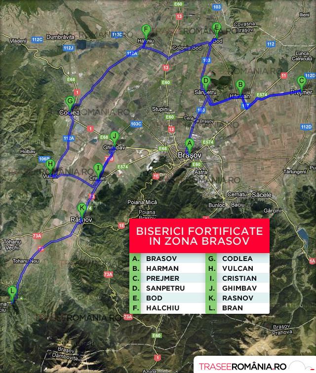 harta biserici fortificate in zona brasov