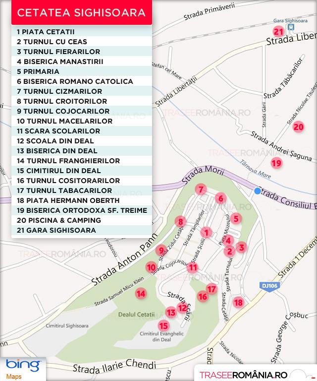 harta obiective turistice sighisoara