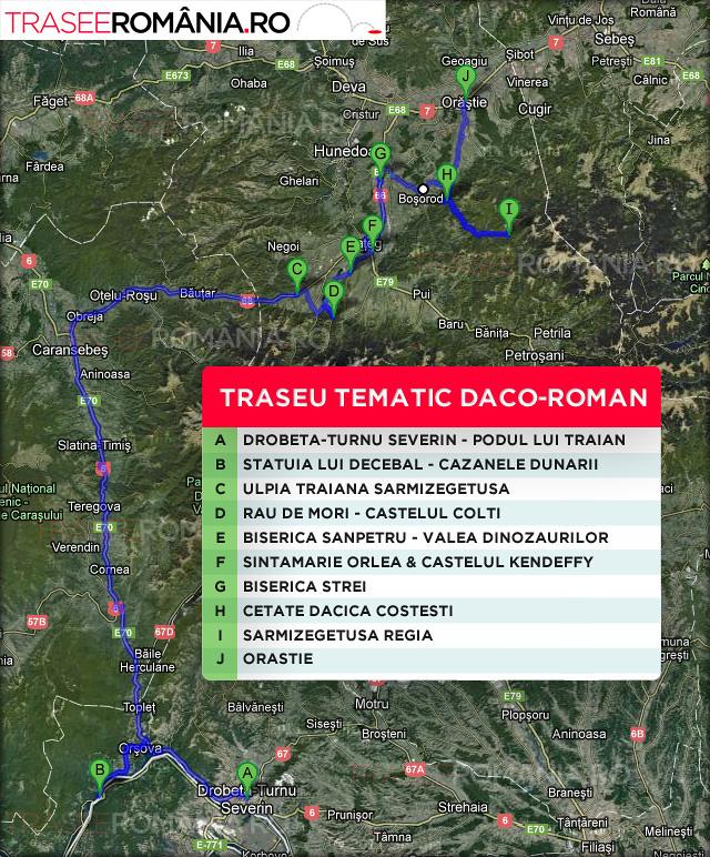 HARTA TRASEU TEMATIC ROMANIA SARMIZEGETUSA
