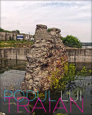 Podul lui Traian  construit de Apolodor din Damasc peste Dunare in Drobeta Turnu Severin slide