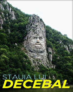 Statuia lui Decebal aflata pe malul stancos al Dunarii, intre Eselnita si Dubova slide
