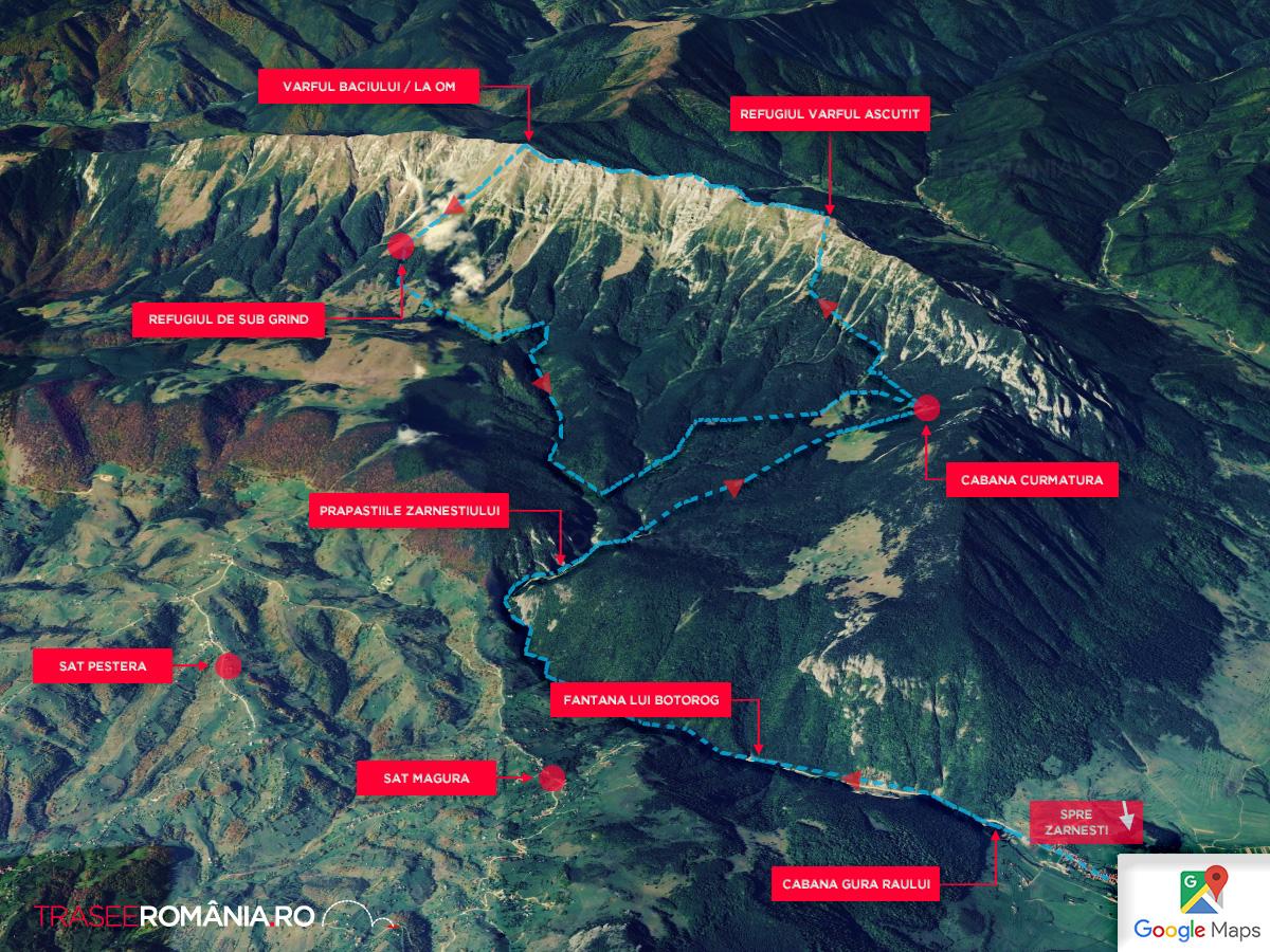 Harta Traseu in Piatra Craiului - Cabana Curmatura - Refugiul Varful Ascutit Varful la Om si inapoi prin Grind