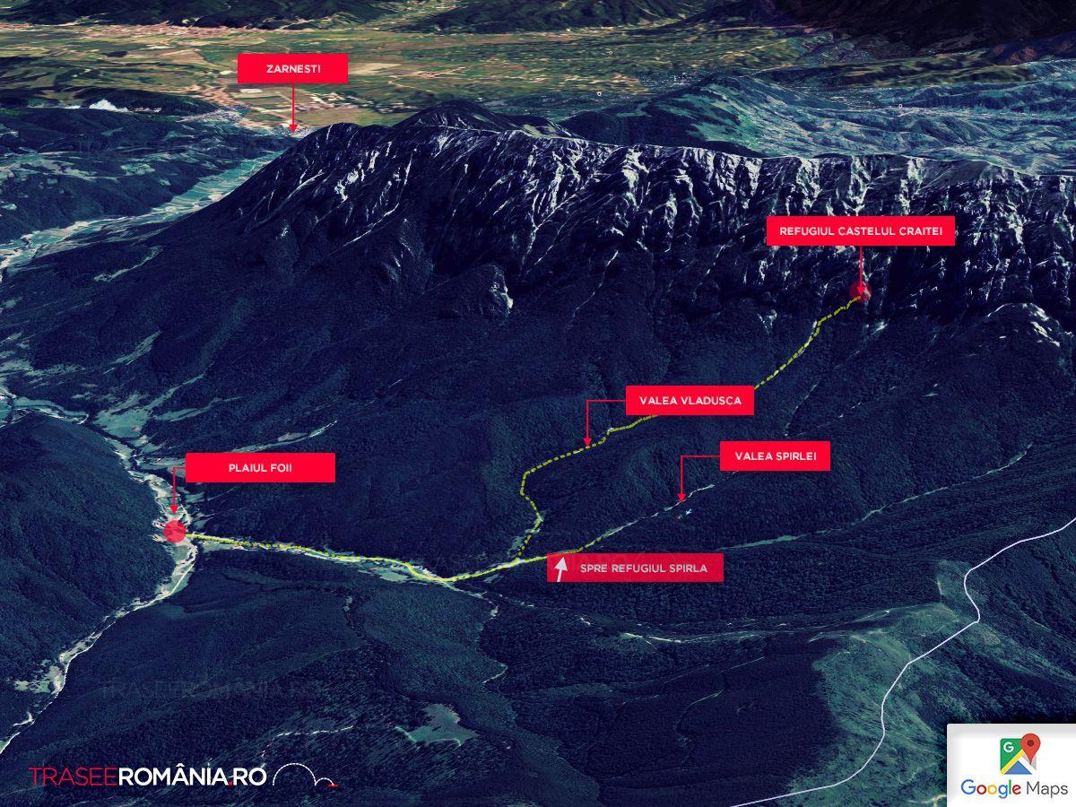 Harta Traseu drumetie spre Refugiul Castelul Craitei din Muntii Piatra Craiului