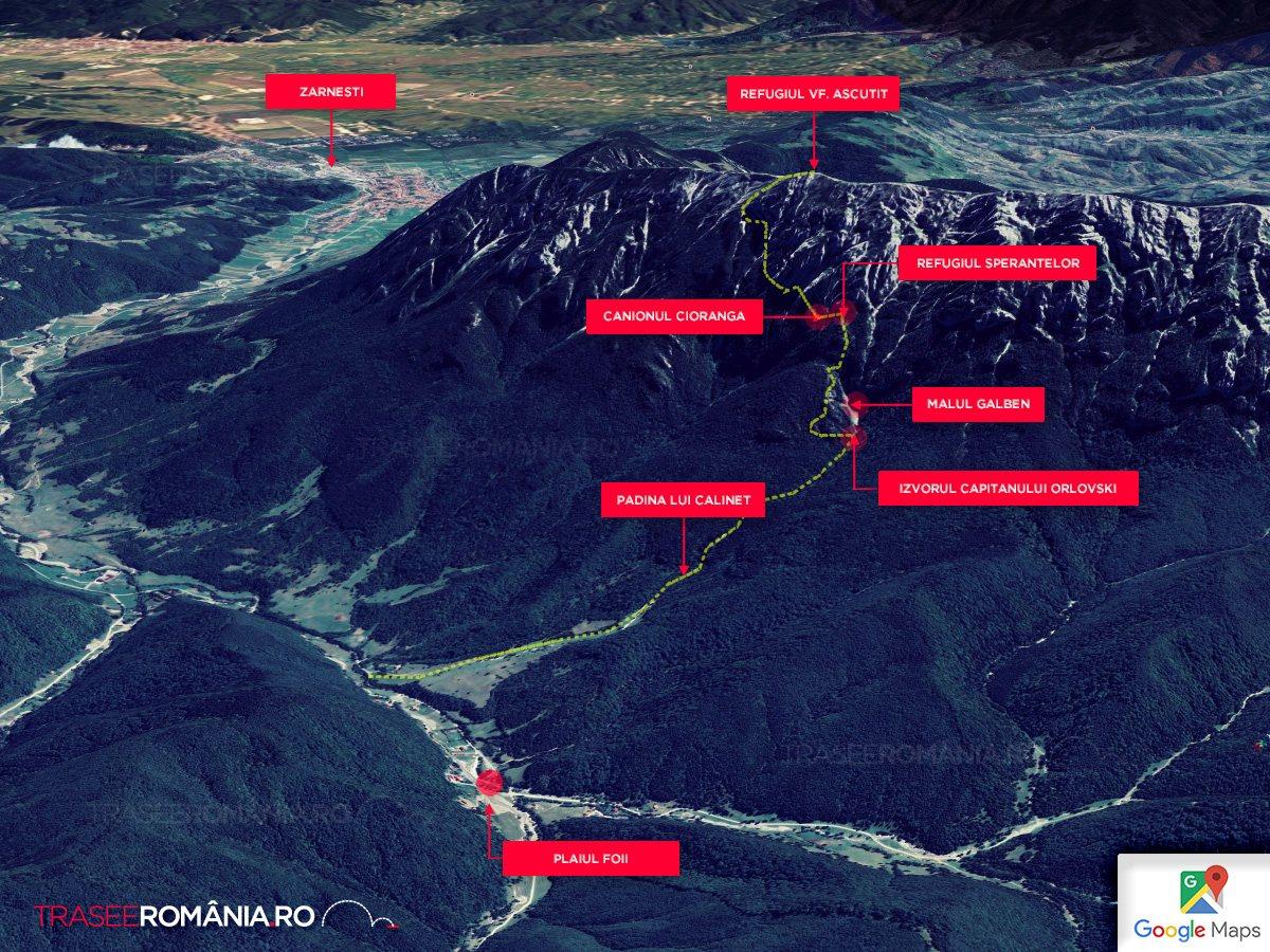 Harta Traseu drumetie in Piatra Craiului Izvorul Capitan Orlovsky - Refugiul Sperantelor - Brâul Ciorânga Mare - Varful Ascutit